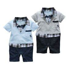 Baby Boy Party Everyday Casual Check Suit Outfit Clothes One Piece NEWBORN 0-12M