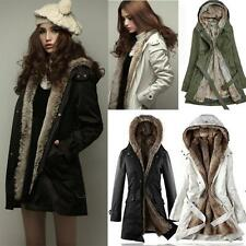 Womens Fur Lining Winter Thick Jacket Fur Hooded Outwear Cotton Blend Coat NEW