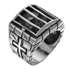 Mens 316L Stainless Steel Gothic Punk Biker Skeleton Skull Cross Band Ring Gift