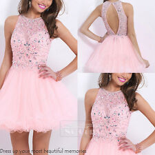Short Mini Net Cocktail Formal Prom Party Beaded Evening Homecoming Dress Pink