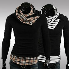 Mens Fashion Grid Stripe Jumpers High Collar Turtleneck Shirts Pullover Sweaters