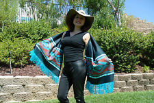 Wool ethnic wrap shawl cloak 70's hippie inspired or throw decor many colors