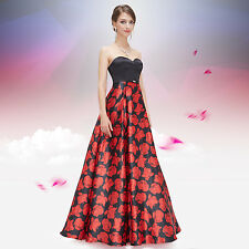 Women's Sexy Strapless Red Floral Printed Maxi Evening Gown 08381 US Seller
