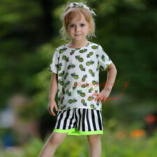 2PCS Girls Clothing Set Fruits T-shirt and Striped Shorts Casual Beach Outfits