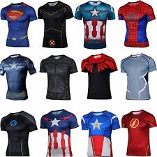 Men Marvel DC Comics Outdoor Sport Superhero T-shirts Cycling Bicycle Jersey HOT