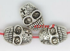 10/40/200pcs Tibetan Silver two-sided Skull Beads  Charms Spacer Beads 10x7mm