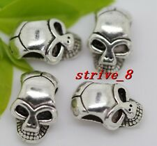 10/40/200pcs Tibetan Silver two-sided 3D Skull Charms Spacer Beads DIY 12x8mm
