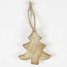 Sass & Belle Rustic Wooden Curvy Christmas Tree Hanging Decoration 8x7cm