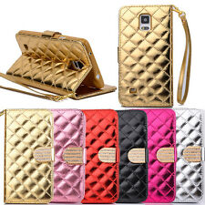 Luxury Diamond Card Wallet PU Leather Flip Stand Case For Samsung Galaxy Note 4