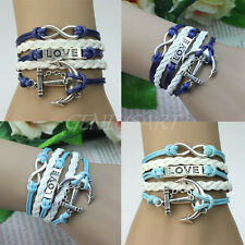 New Silver Metal Infinity Rudder Anchor Charm Lover Leather Suede Wrap Bracelet