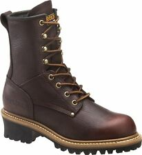 """Women's Carolina CA1421 8"""" Logger Safety Steel Toe Work Boot Brown Leather"""