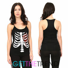 Womens Halloween Skeleton Print Top Spooky Fancy Dress Racer Vest Top Costume