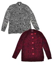 GIRLS GREY/RED MOTTLED BUTTONED CHUNKY KNITTED CARDIGAN AGE 7-8,9-10,11-12,13-14
