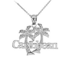 White Gold Caribbean Palm Tree Pendant Necklace
