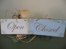 Open / Closed Shop Sign Wooden Shabby Double Sided Door Window Hanging Chic