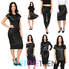 Womens Black Wet look PVC Midi Dress Shiny Leggings Midi Skater Skirt PVC Top