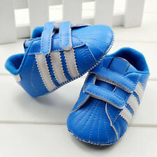 Toddler Baby Boy Girl Blue double Velcro Soft Sole Crib Shoes Size 0-18 Months