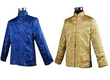 blue/gold Double face Chinese men's silk/satin jacket/coat  SZ: S-3XL