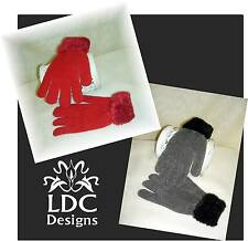 Chenille Fuzzy Cuff Wrist Stretch Knit Winter Gloves ~ 10 Color Choices