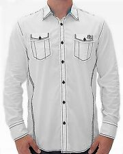 New ROAR Men's White Casual Stretch Button Front Insightful L/S Woven Shirt $69