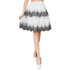 Ladies Mid Rise Elastic Waist Scalloped Hem Fully Lined Casual Skirt