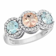10k White/Yellow Gold Natural Diamond, Morganite & Aquamarine Round 3-stone Ring