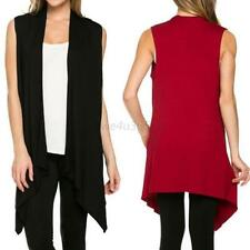 New Women's Fashion Open Front Vest Long Tunic Shawl Collar Draped Cardigan Tops