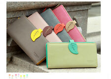 Long Wallet Matte Synthetic leather Leave Buckle Clutch Wallet Purse Zipper Coin