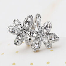 18K White Gold Plated Butterfly Crystal Ring Charm Jewelry Gift CZ Rhinestone