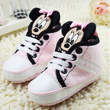 Toddler Baby Girls 3D Mickey Mouse pink  Baby Soft Sole Crib Shoes Size 0-18 Mth