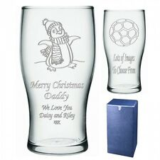 Personalised Christmas Pint Glass Engraved Gift
