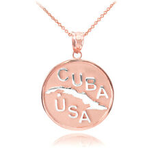 10k Two Tone Solid Rose / White Gold CUBA-USA Medallion Pendant Necklace