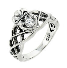 925 Sterling Silver Celtic Knot Cubic Zirconia Ladies Ring
