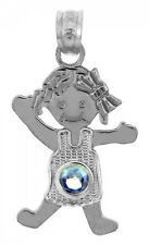 Fine White Gold March Birthstone Aquamarine Blue CZ Baby Girl Charm Pendant