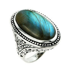 925 Sterling Silver Unique Oval 22.80ctw Labradorite Gemstone Ring Jewelry