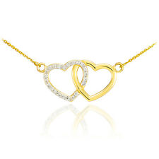 14K Yellow Gold Double Heart Pendant with Diamonds Necklace Valentine's Day Gift