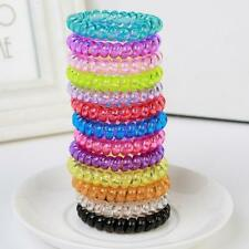 Women Elastic Rubber Hairband Phone Wire Hair Tie Ring Spiral Rope Band Ponytail