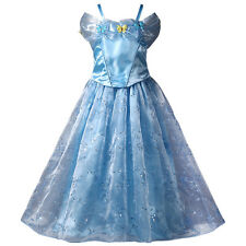 Girls Princess Anna Elsa Frozen Dress Shining Butterfy Halloween Party Costume