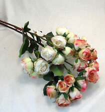 Spray Roses Pink White Artificial Fake Flowers Silk Flowers Home Decor