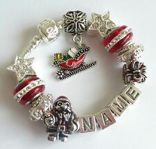 Personalise XMAS Charm Bracelet Ladies Girls ANY NAME Red & Silver Gift Box