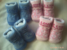 I Love Mummy/Daddy Pink Or Blue Baby Socks Size 0-6 Months.