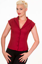 Banned Apparel 50s Rockabilly Vintage Blouse Shirt Button Top Pinup Bordeaux RED