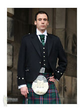 ARGYLE (ARGYLL) SCOTTISH KILT JACKET - BLACK - 100% WOOL - CHEST 38""