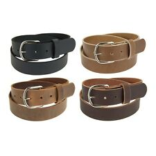 "Genuine Buffalo Leather Belt_1 1/4"" wide_Amish Handmade_Nickel Finish Buckle_142"