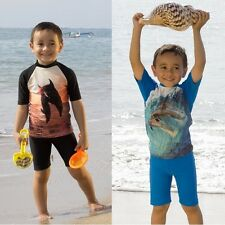 Children Two Piece Swimsuits Kids Rash Guard Vest Swimwear Girls Boys Bathers