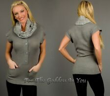 S7 GRAY COWL NECK SCARF 4 BUTTON TUNIC SWEATER POCKET TOP WOMENS S M L XL