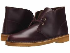 Men's Shoes Clarks Desert Boot Lace Up Chukka Boots 09441 Wine Leather *New*