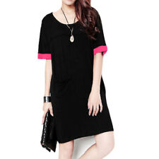 Women Pullover Short Sleeves Round Neck Front Pockets Straight Dresses