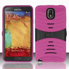 Samsung Galaxy Note 3 Impact Rugged Hybrid Hard+Rubber Case w/Stand- Berry