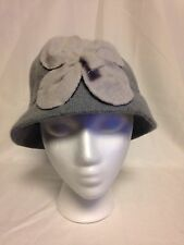 August  Womens Flower Cloche Hat One Size  #16612 Grey  NWT